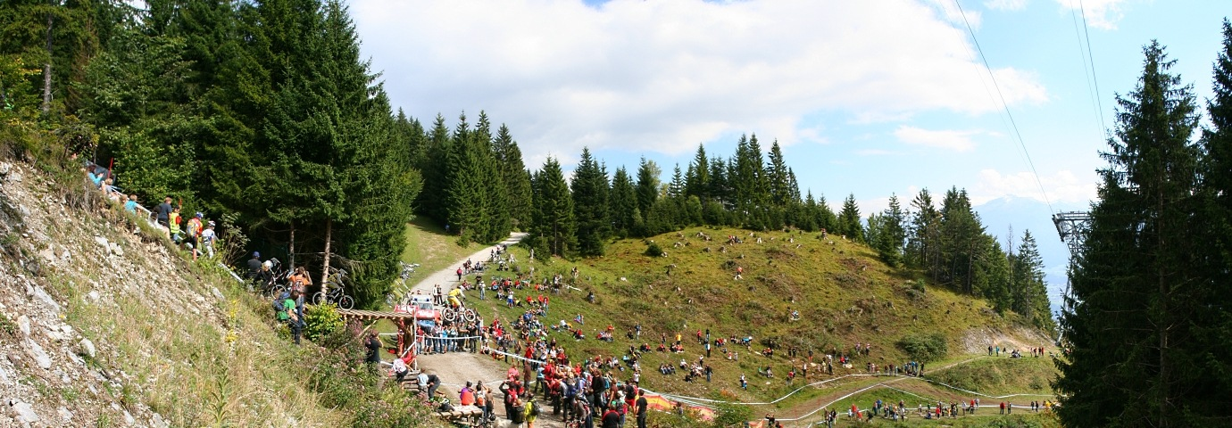 Panorama vom Nordkette-Downhillrennen im September 2010