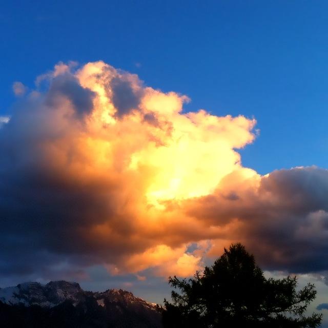 Sonnenbeschienene Wolke über Baum- und Berggipfeln