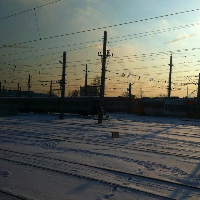 Schneebedeckte Geleise am Wiener Westbahnhof