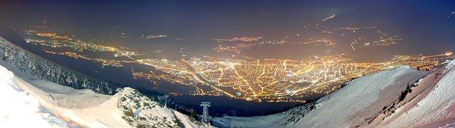 Panorama Seegrube Blick auf Innsbruck bei Nacht