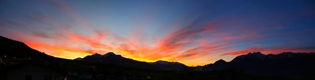 Panorama Sonnenuntergang in Sistrans